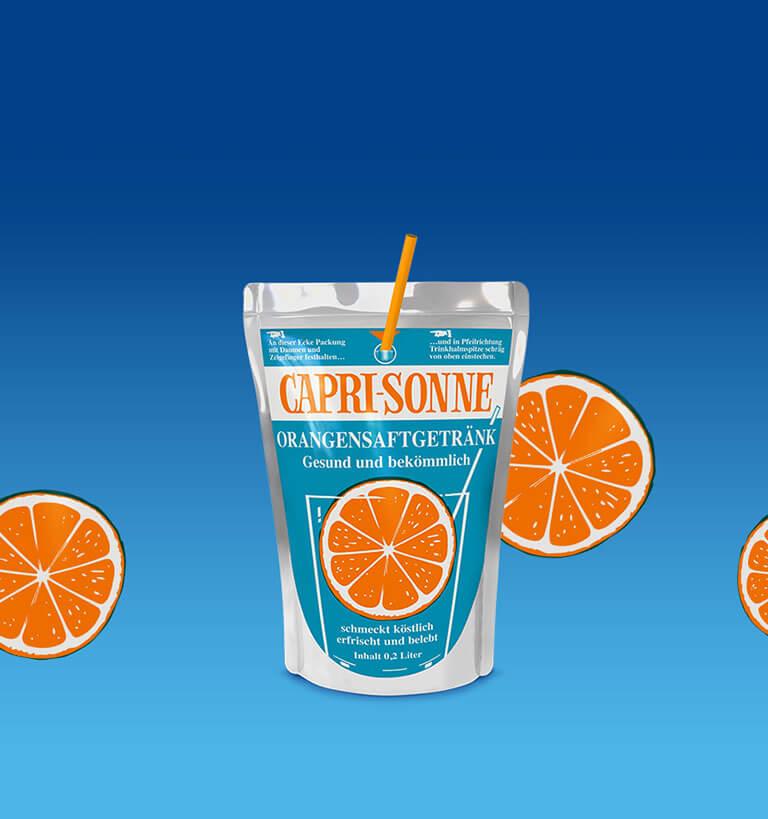 Capri-Sonne 200ml Orangensaftgetrank blue background
