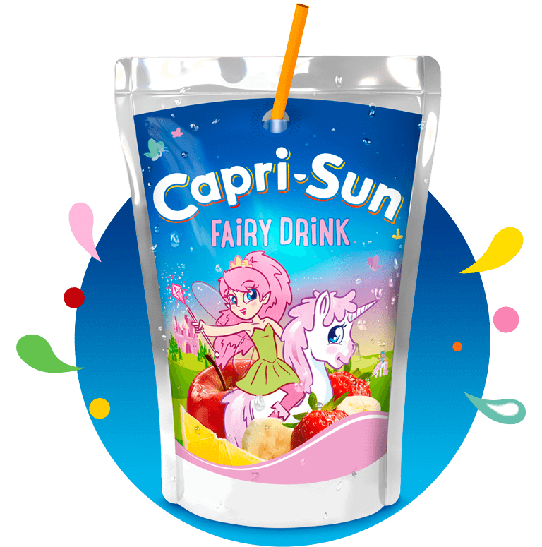 Capri Sun Fairy Drink 200ml with background and splashes