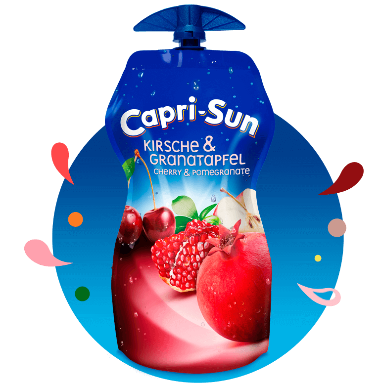 Capri Sun Kirsche Granatapfel 330ml with background and splashes
