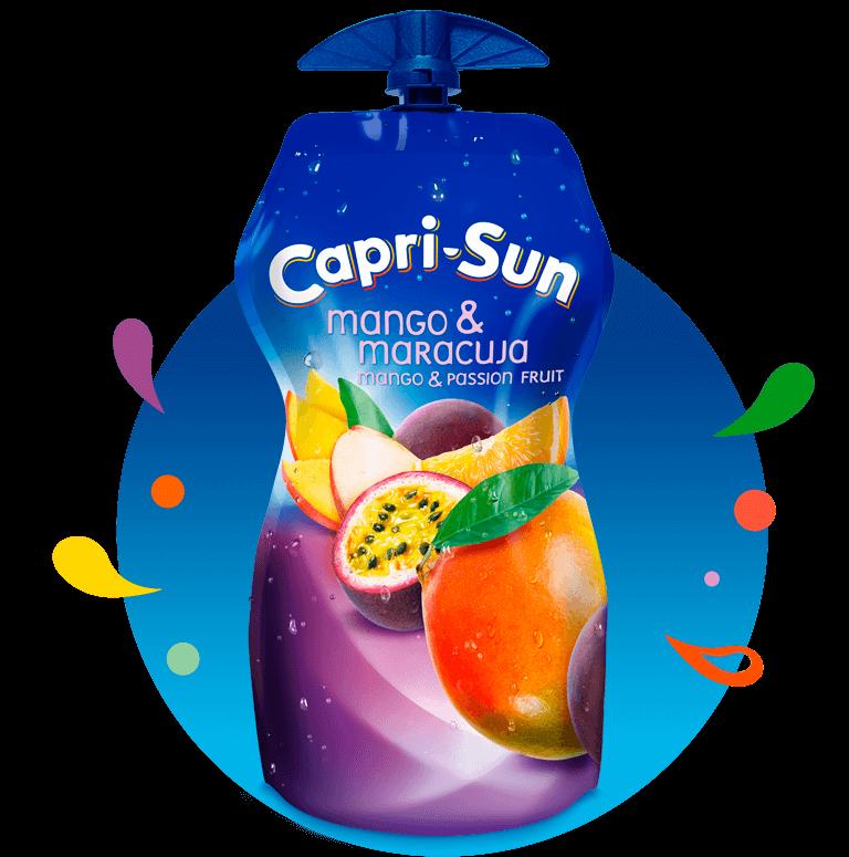 Capri Sun Mango Maracuja 330ml with background and splashes