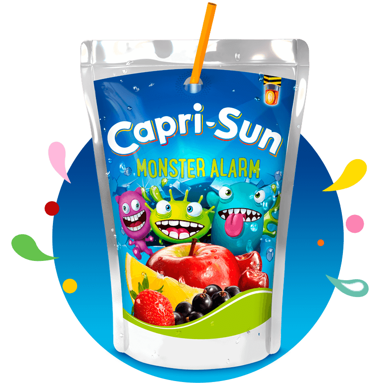 Capri Sun Monster Alarm 200ml with background and splashes