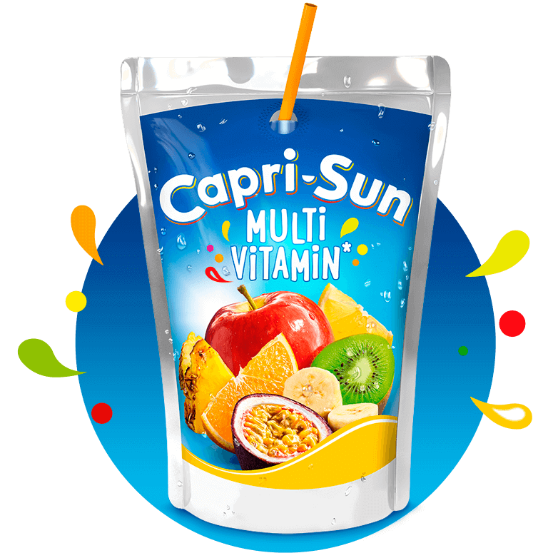 Capri Sun Multivitamin 200ml with background and splashes