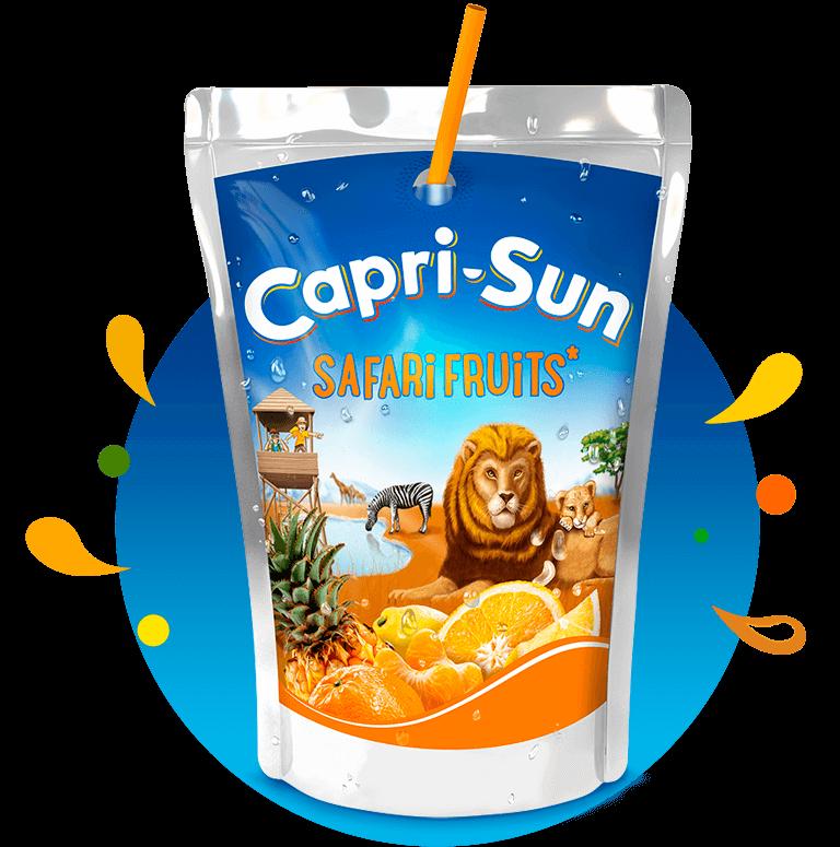 Capri Sun Safari Fruits 200ml with background and splashes