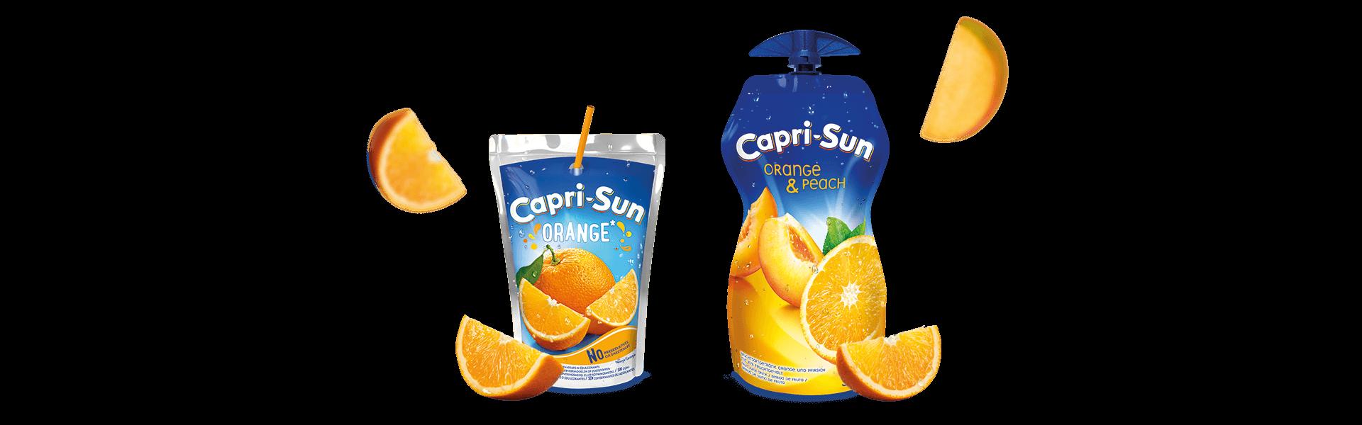 Capri-Sun Orange 200ml 200ml and Orange and Peach 330ml with flying fruits