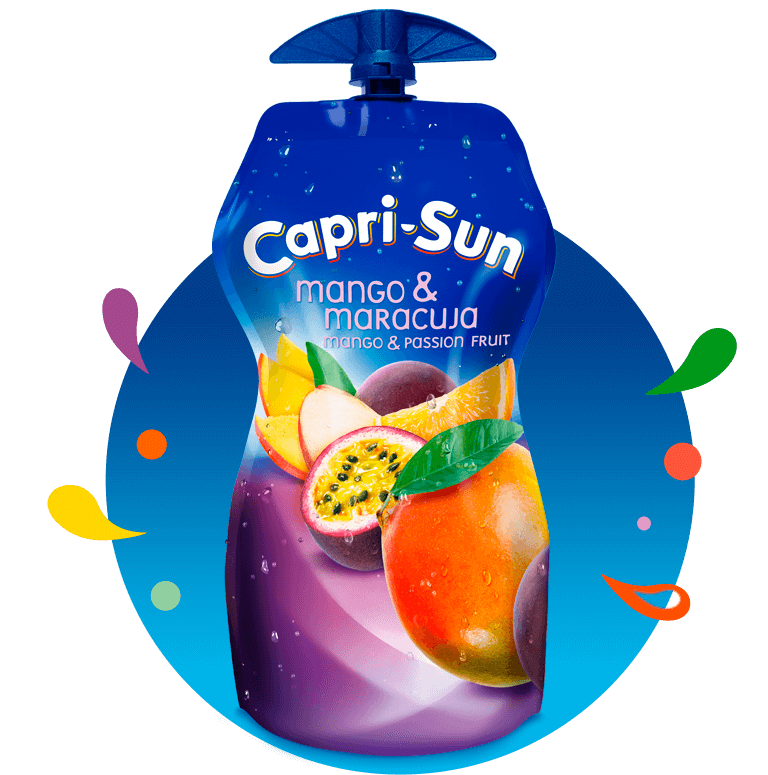 Capri Sun Mango Maracuja 330ml with background and splashes