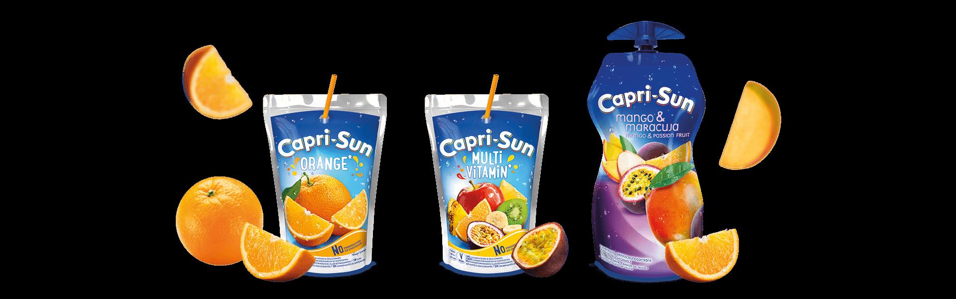 Capri Sun Orange 200ml Multivitamin 200ml and Mango Maracuja 330ml with flying fruits
