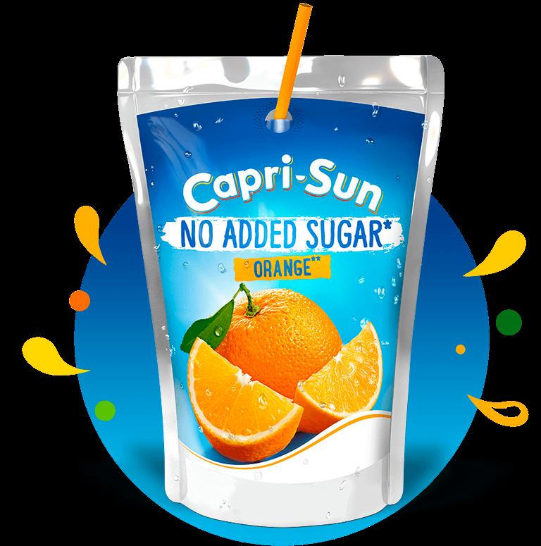 Capri-Sun No added sugar Orange 200ml with background and splashes