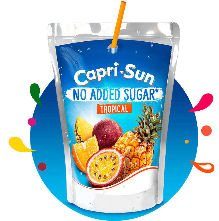 Capri-Sun No added sugar Tropical 200ml with background and splashes