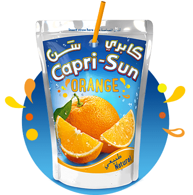 Capri Sun Orange 200ml with background and splashes Nigeria