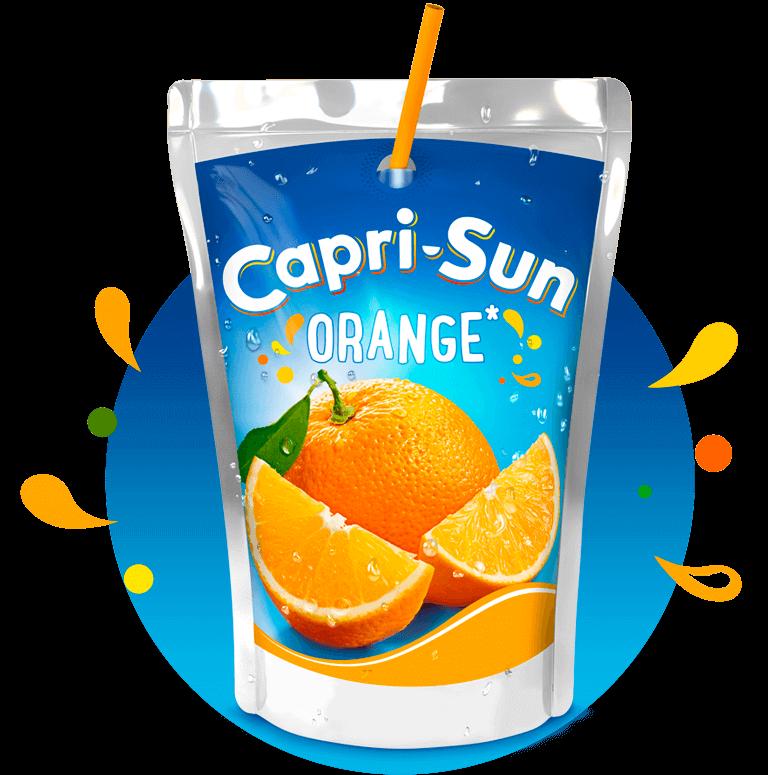 Capri-Sun Orange 200ml with background and splashes