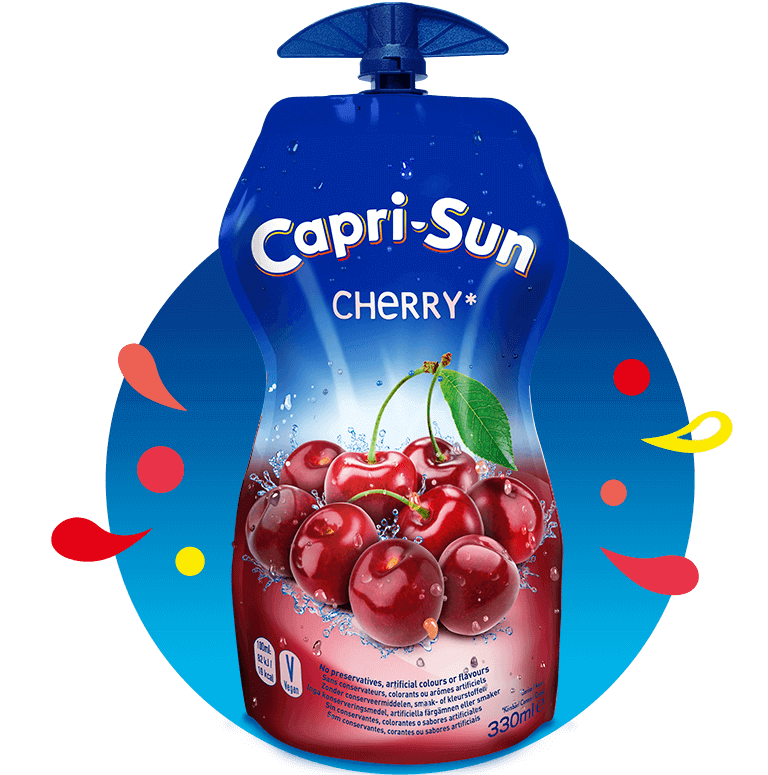 Capri Sun Cherry 330ml with background and splashes