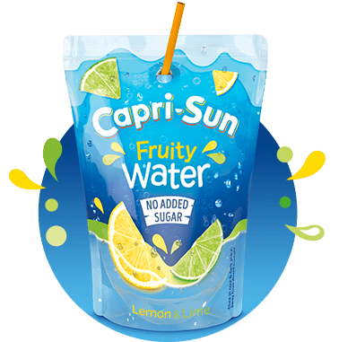 Capri-Sun Fruity Water No added sugar Lemon Lime 200ml with background and splashes