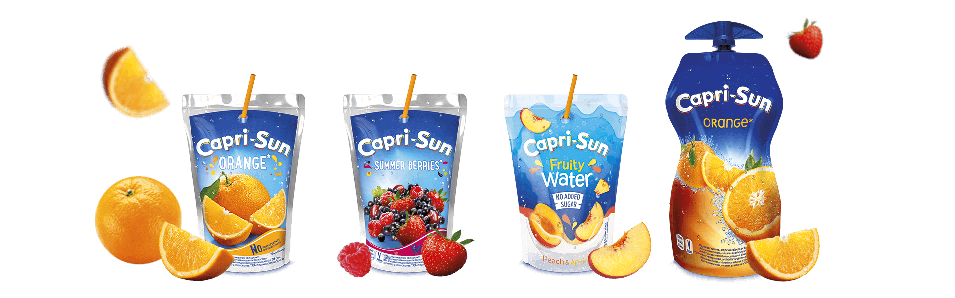 Capri-Sun Orange 200ml Summer Berries 200ml Fruity Water No added sugar Peach Apricot 200ml and Orange 330ml with flying fruits