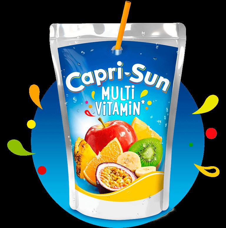 Capri Sun Multivitamin 200ml with background and splashes