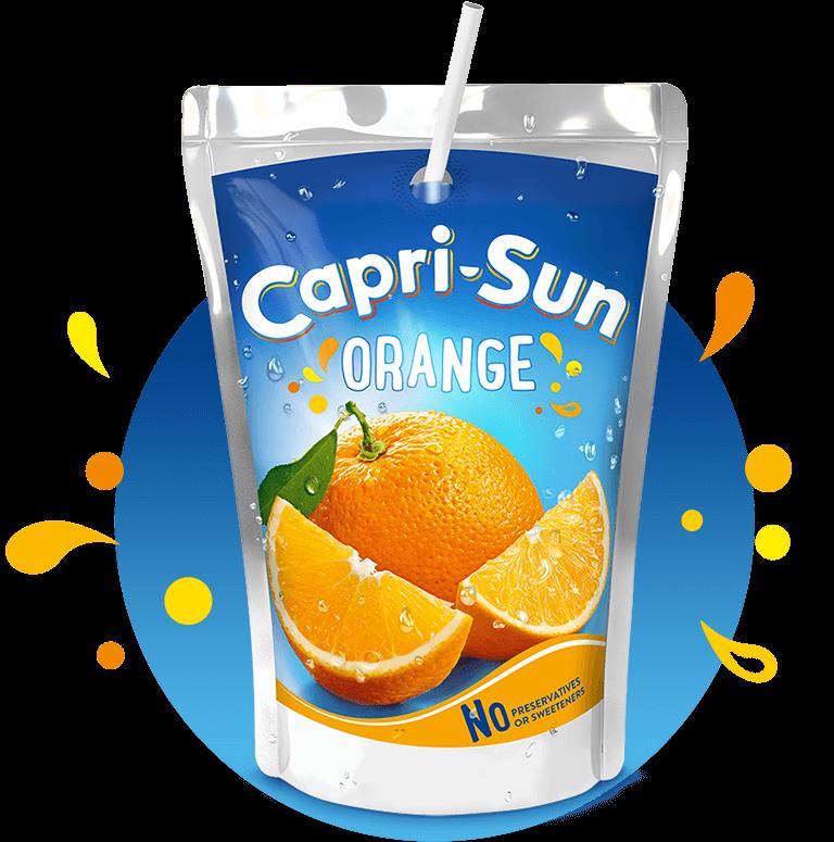 Capri Sun Orange 200ml with background and splashes