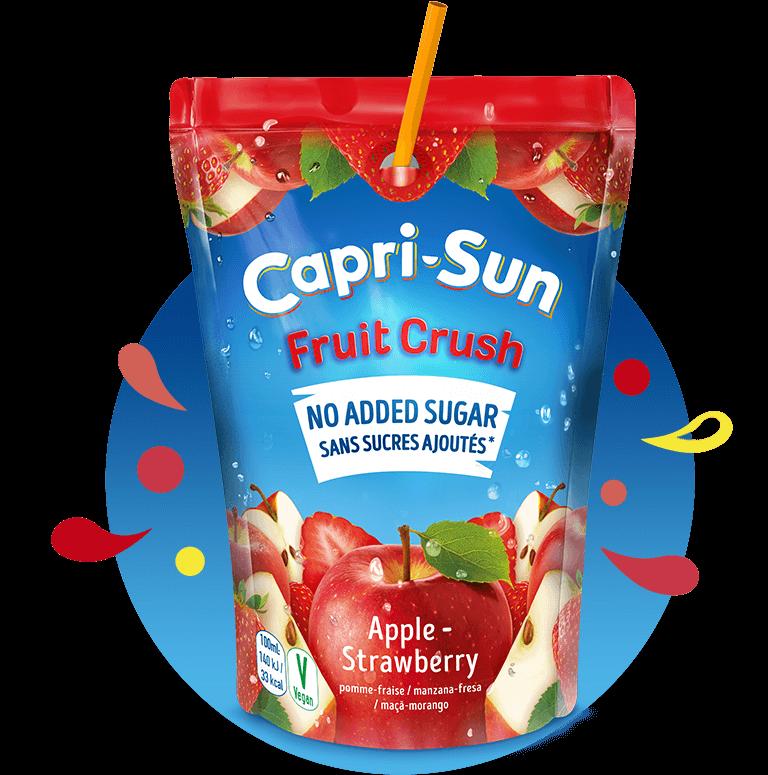 Capri Sun Orange 200ml Fruit Crush No added sugar Apple Strawberry 200ml with background and splashes