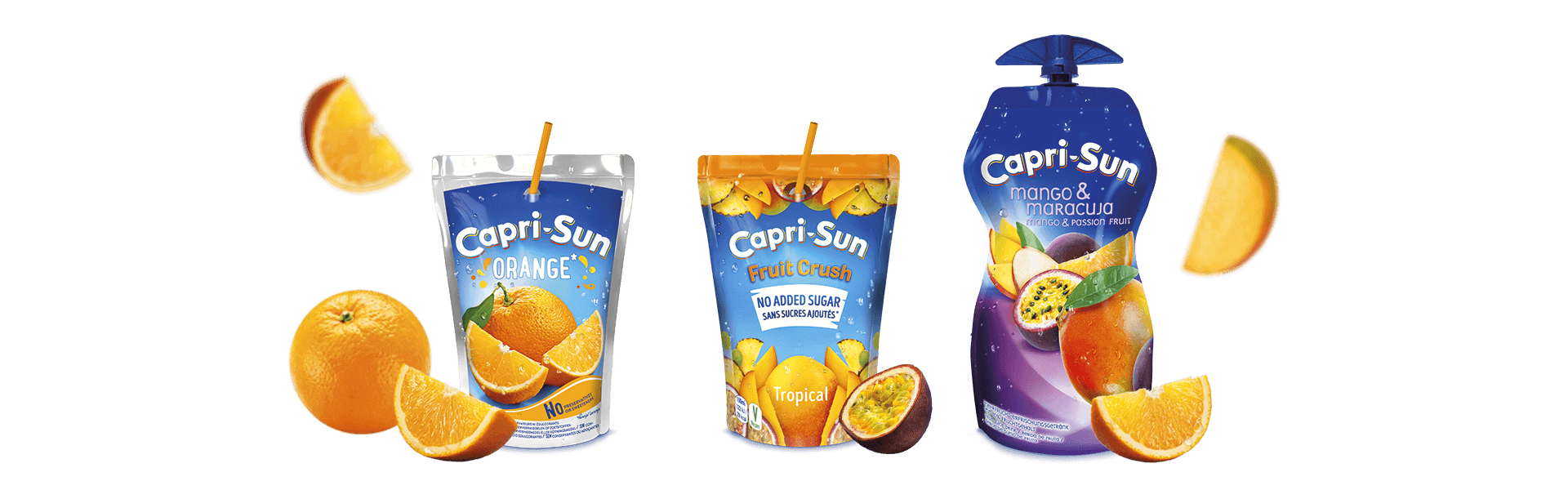 Capri Sun Orange 200ml Fruit Crush No added sugar Tropical 200ml and Mango Maracuja 330ml with flying fruits