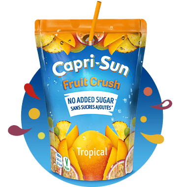 Capri Sun Orange 200ml Fruit Crush No added sugar Tropical 200ml with background and splashes