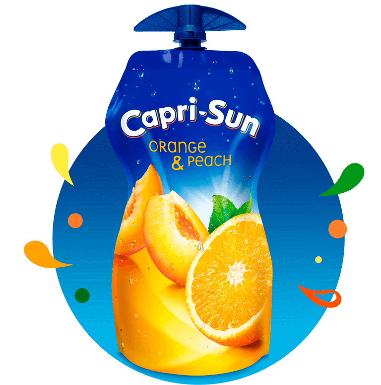 Capri Sun Orange Peach 330ml with background and splashes