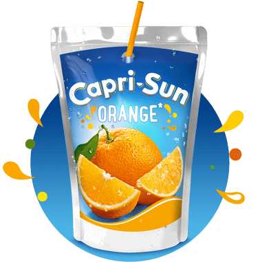 Capri Sun Orange 200ml with background and splashes