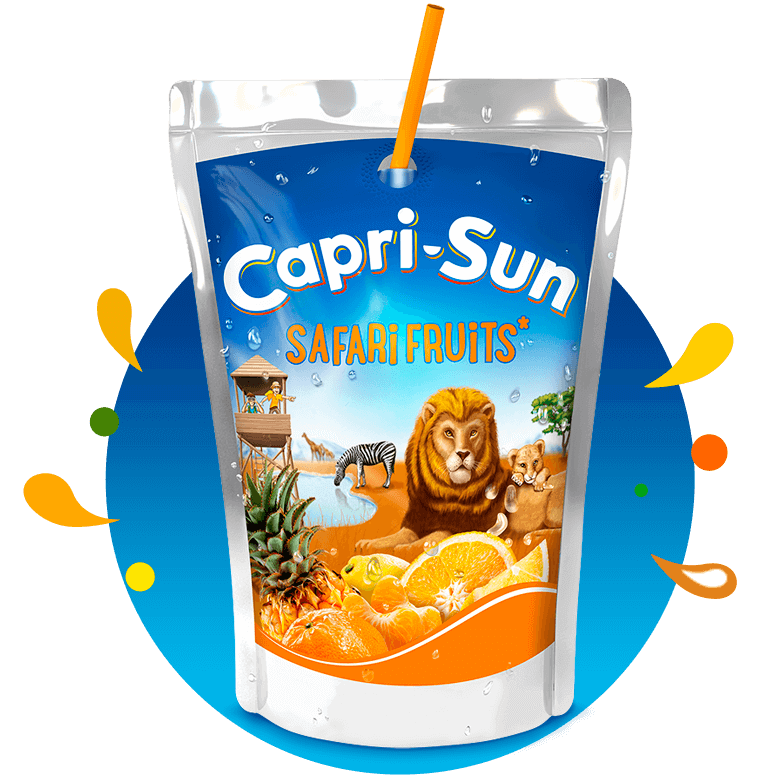 Capri Sun Safari Fruits 200ml with background and splashes