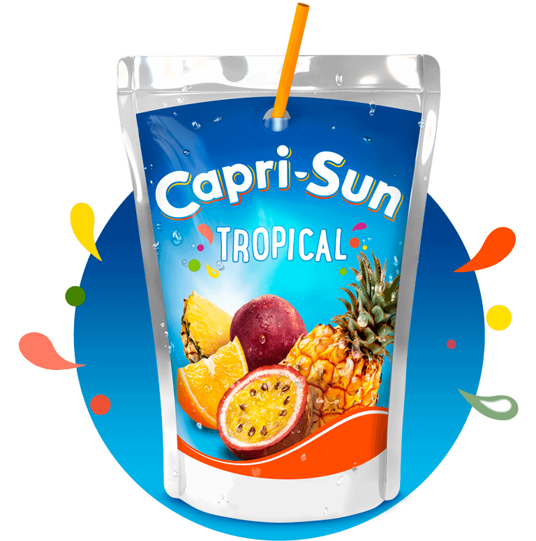 Capri Sun Tropical 200ml with background and splashes