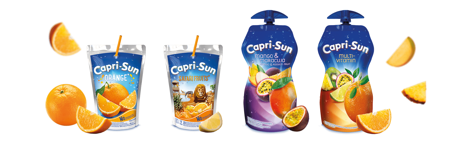 Capri Sun Orange 200ml Safari Fruits 200ml Mango Maracuja 330ml and Multivitamin 330ml with flying fruits