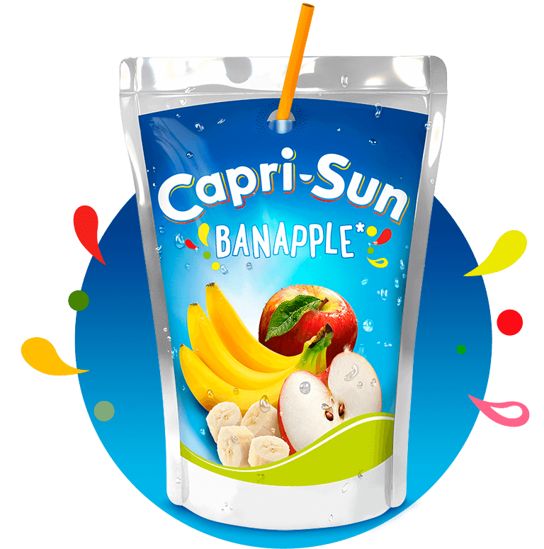 Capri Sun Banapple 200ml with background and splashes